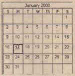 ~ A date that deviates from the default schedule is indicated by an underscore under the date