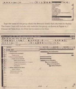 A filtered Gantt Chart lets a group view its tasks