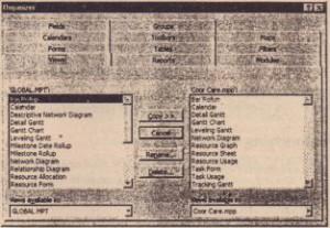 Organizer dialog box.
