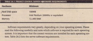 PROJECT CENTRAL SERVER HARDWARE REQUIREMENTS